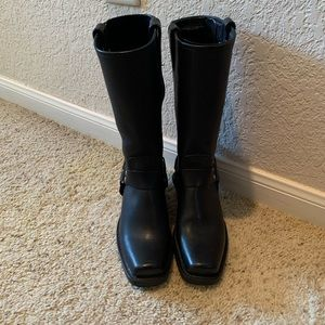 Frye, black leather harness boots, size 6